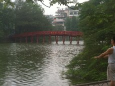 Red bridge on Hoan Kiem lake