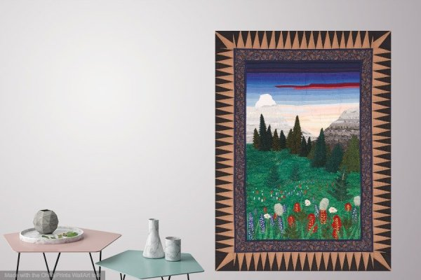 Mountain meadows thread painteding by bridget in living room setting