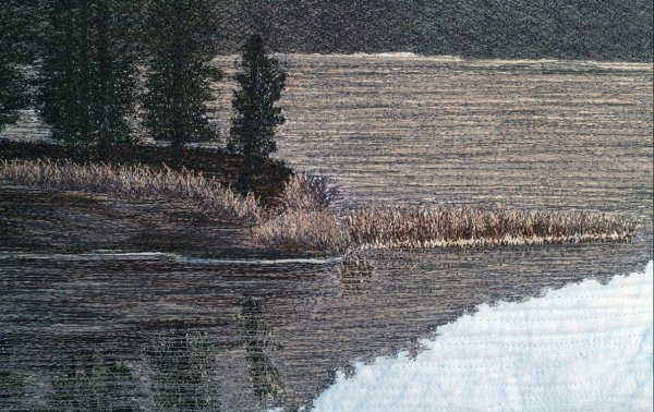 detail of Precious Moments Thread Painted Art Quilt by Bridget O'Flaherty. Award winning quilt at MQX 2018