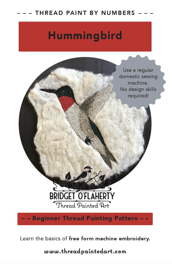 thread painting hummingbird pattern