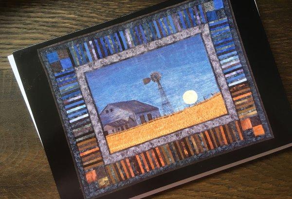 Artcard moonlit prairie. Original art work on a blank notecard