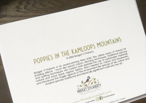 Artcard Poppies in the Kamloops Mountains. Original art work on a blank notecard