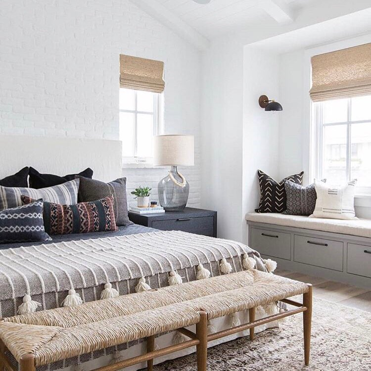 Bedroom with Inside Mount Woven Wood Shades