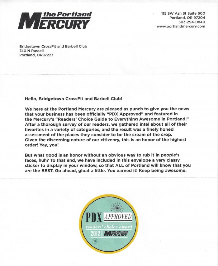 Bridgetown CrossFit Portland Mercury Approved PDX 2012
