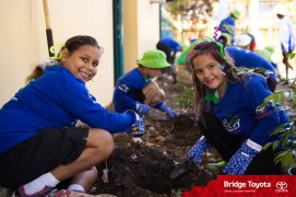 Students from Ludmilla Primary planting trees