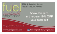 A business card for Fire's sister restaurant, Fuel.