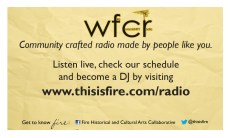 A business card to promote WFCR and recruit DJs.
