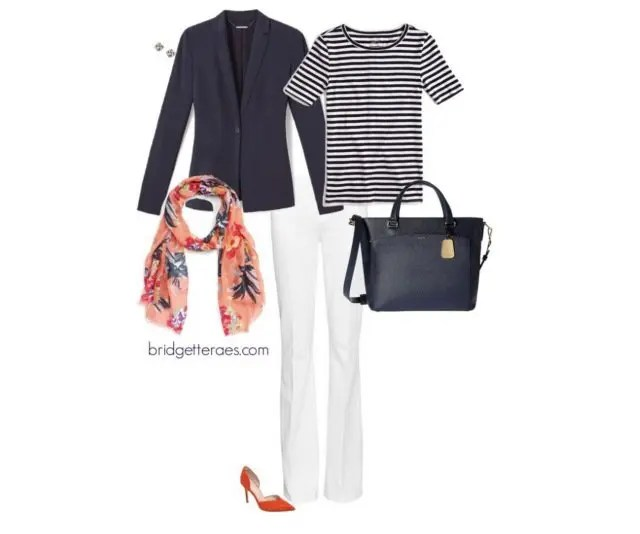 bde2283201f9f3 I styled it professionally using this seasonless navy blazer from Elie  Tahari, a striped work t-shirt from J. Crew, ...