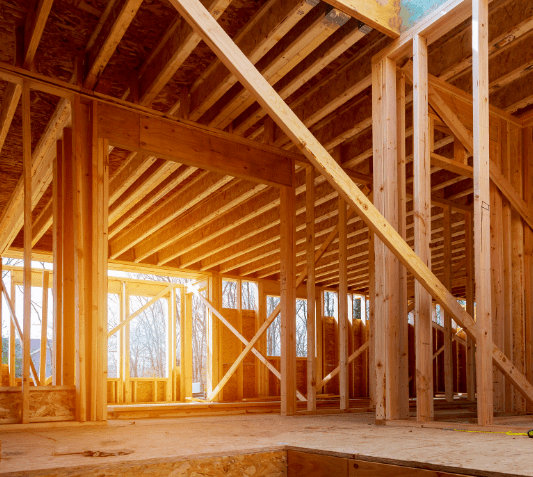 house interior framing during build