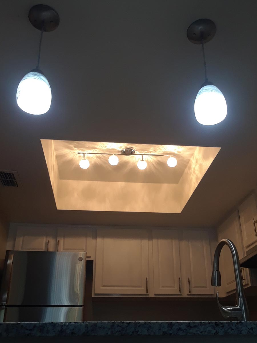 funky recessed kitchen ceiling