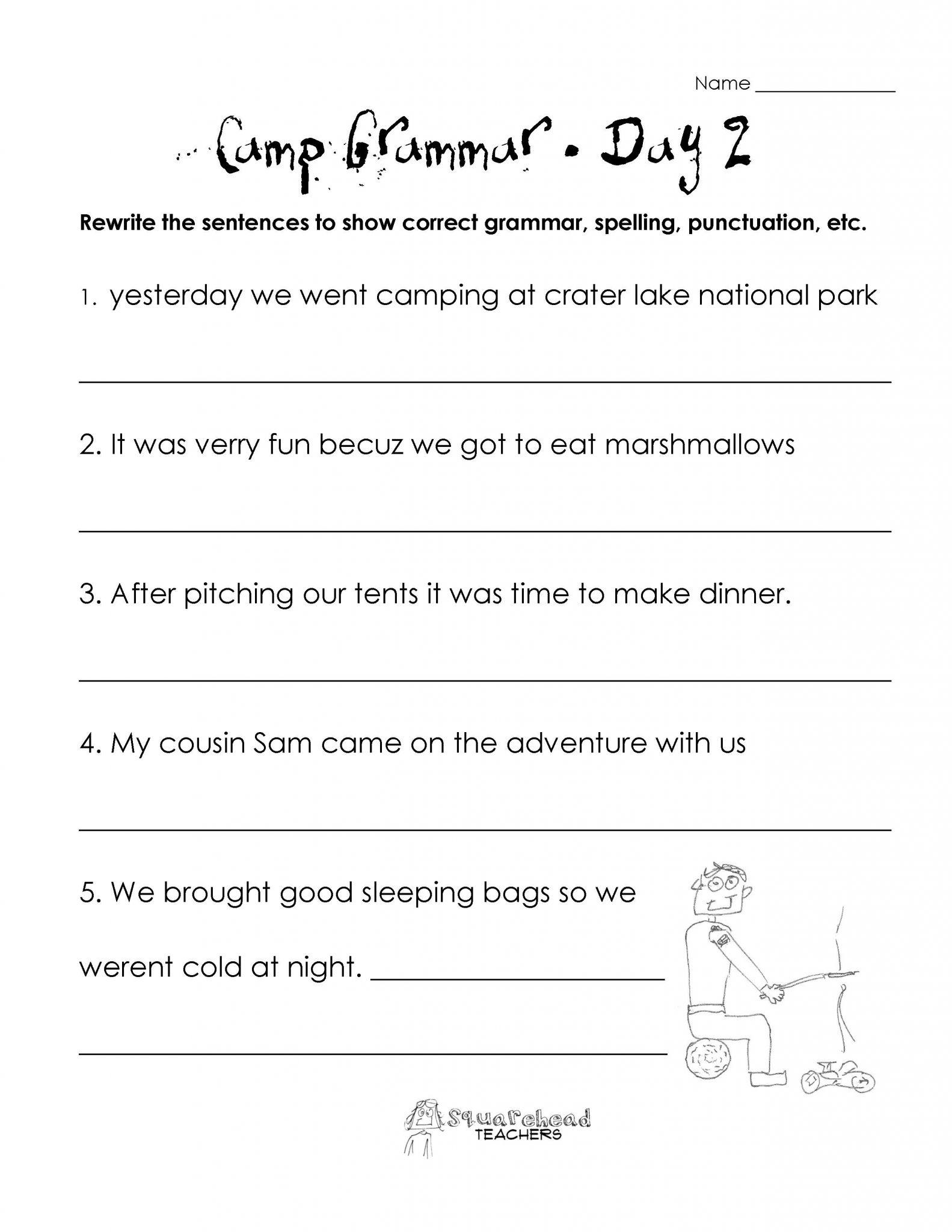 2nd Grade Grammar Worksheets Pdf