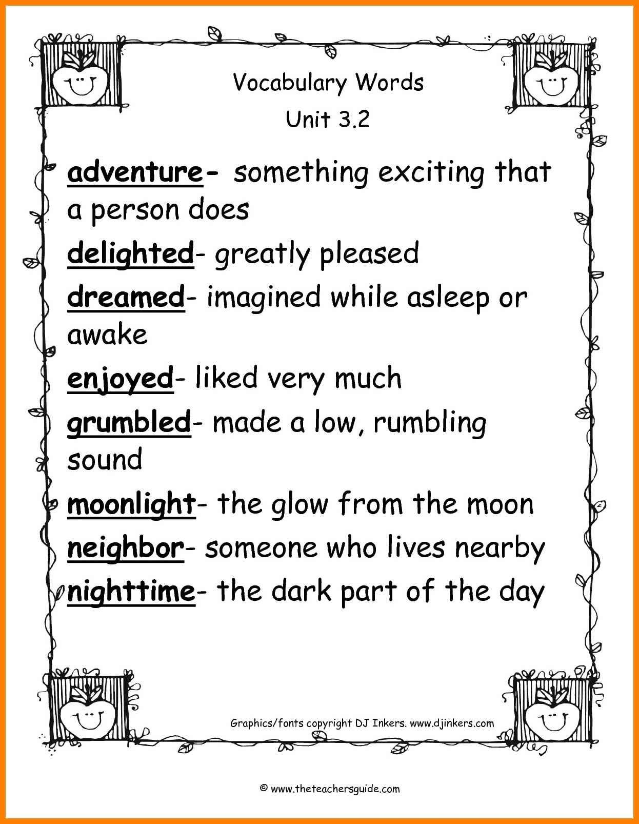 2nd Grade Vocabulary Worksheets