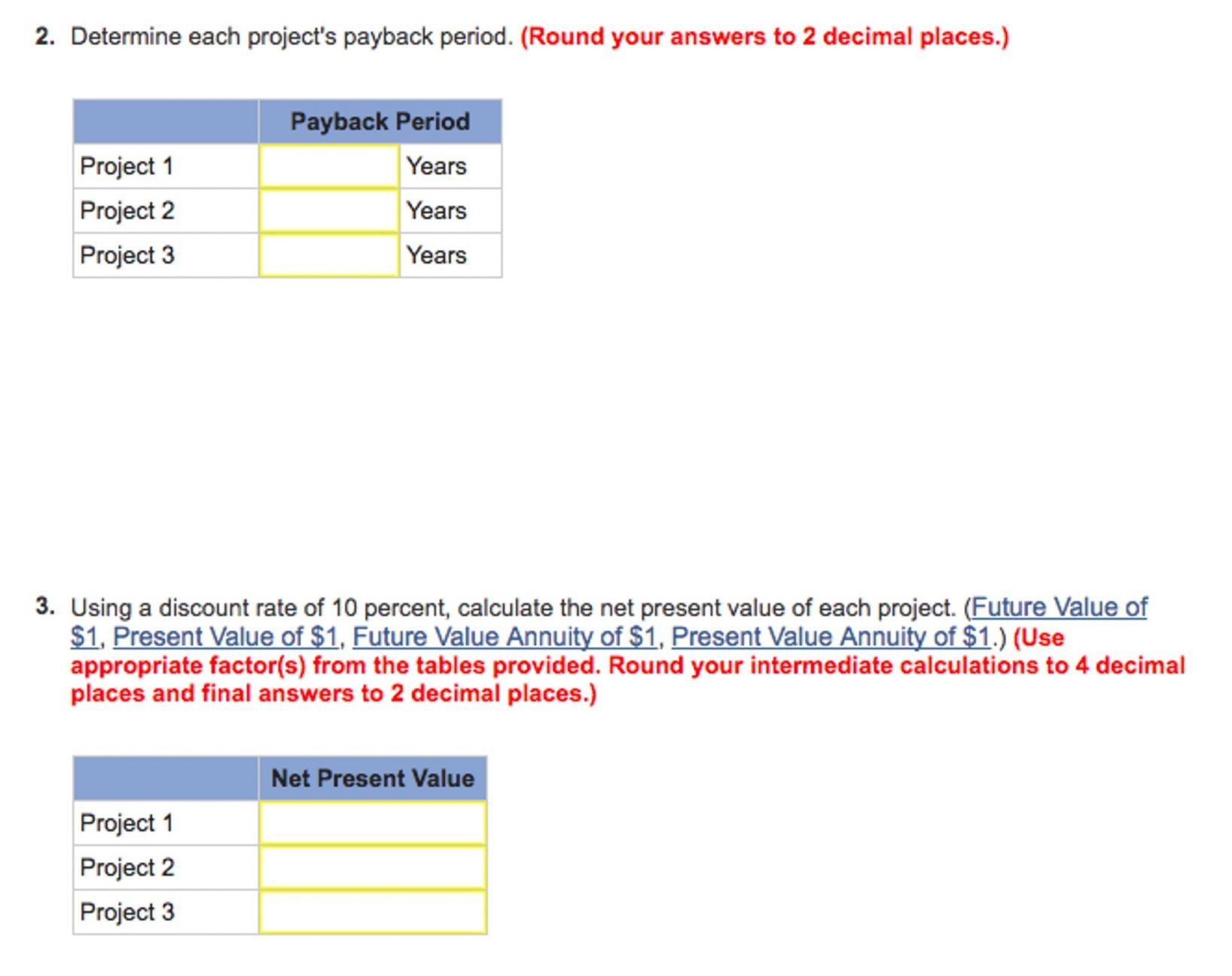 Present Value Worksheet