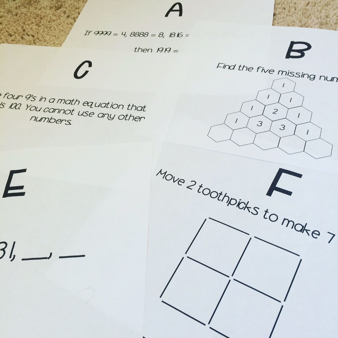 5th Grade Math Brain Teasers Worksheets