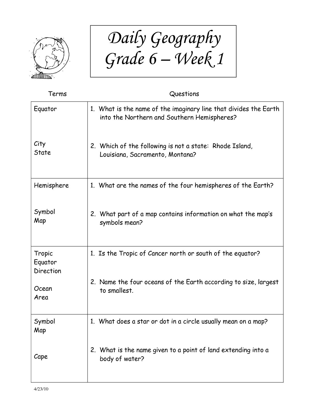6th Grade Social Stu S Worksheets