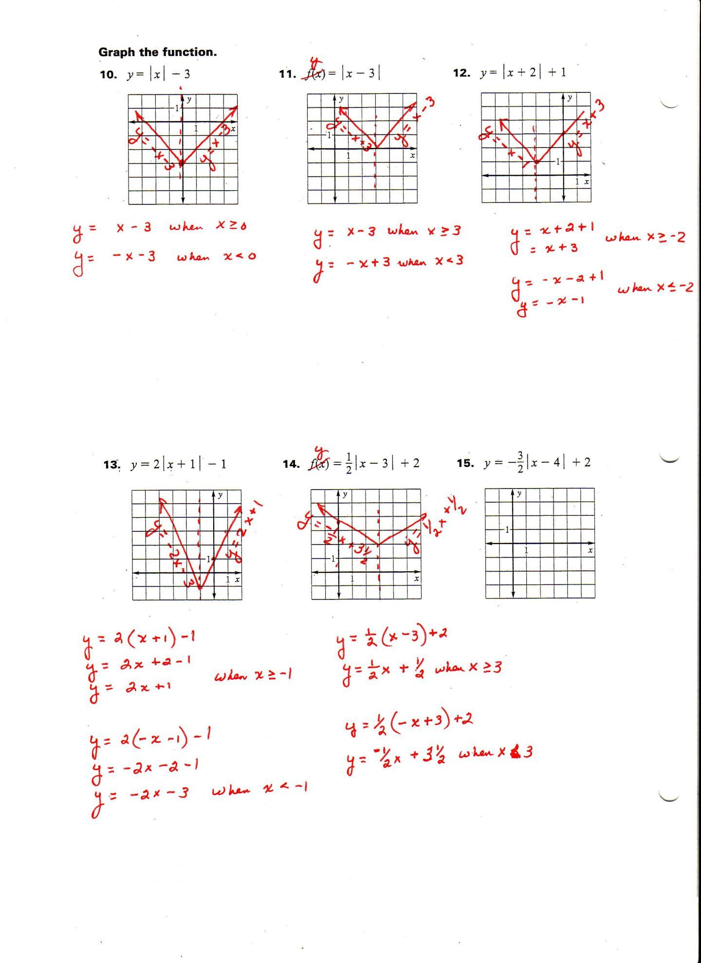 Absolute Value Inequalities Worksheet Answers Algebra 1