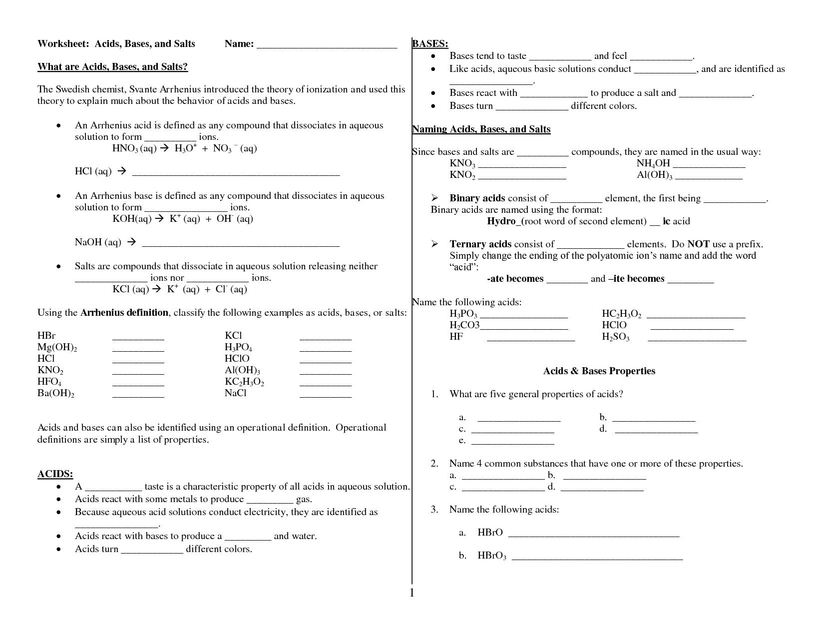 Acids And Bases Worksheet Chemistry