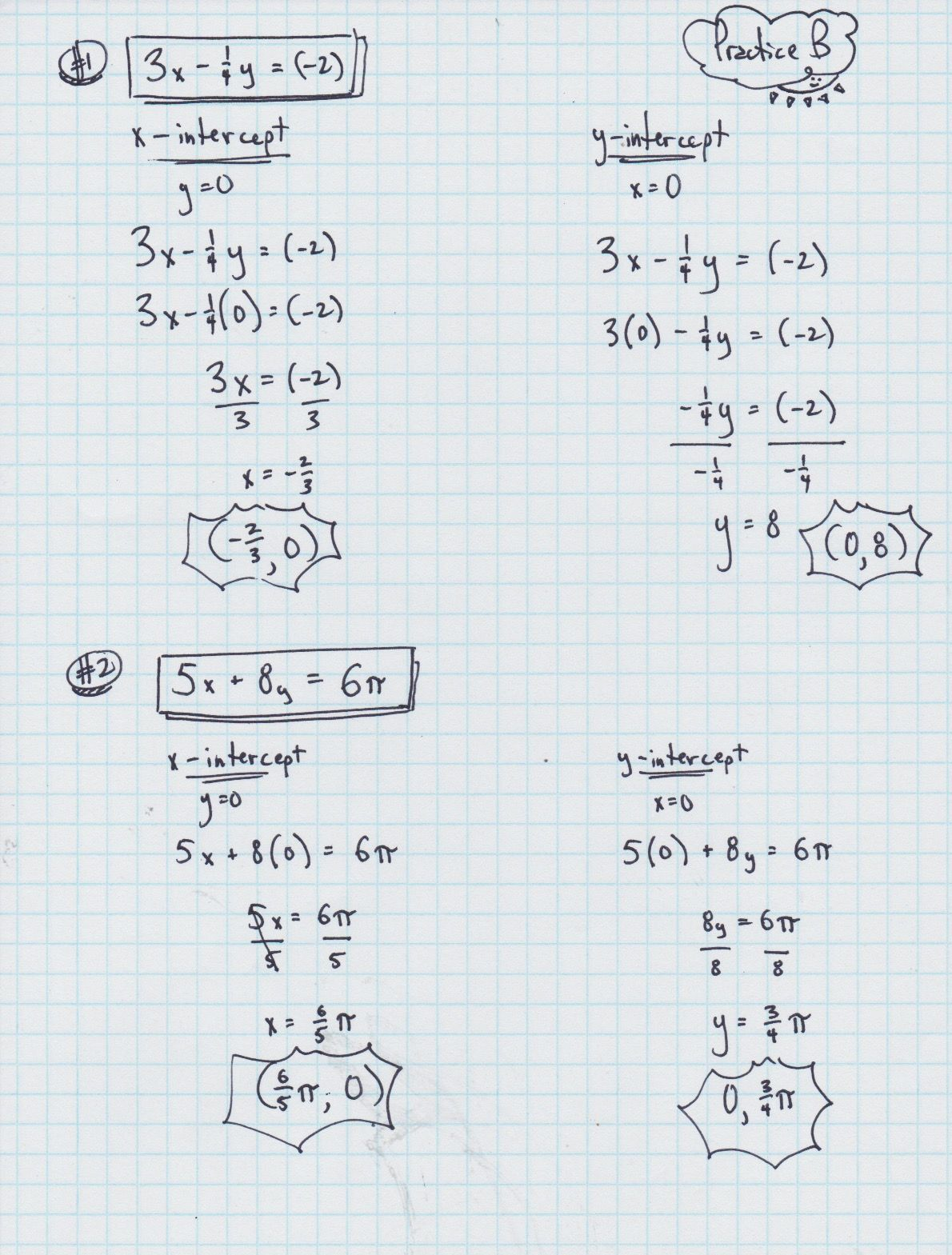Finding The X And Y Intercepts Of A Linear Equation Worksheet