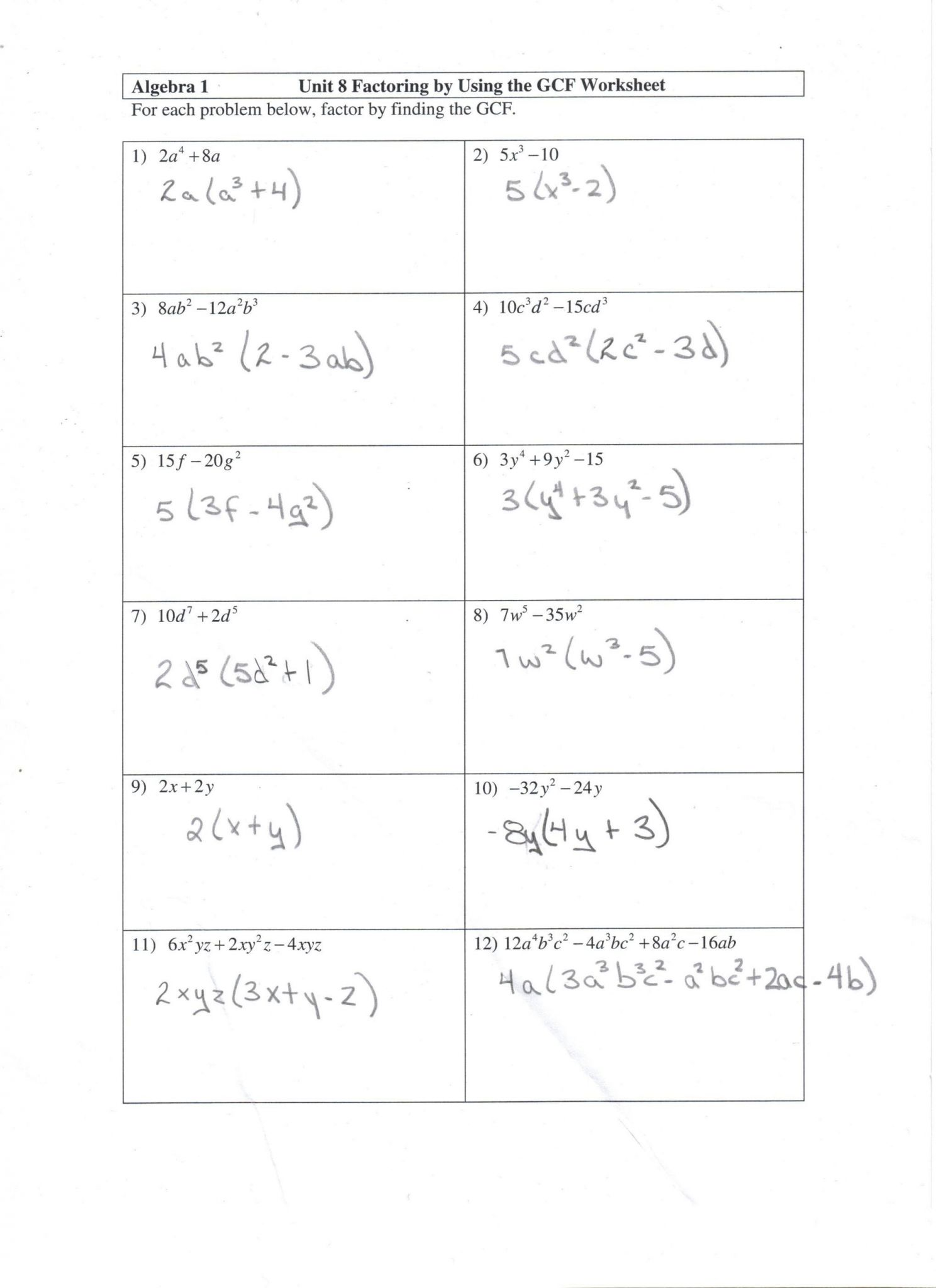 Algebra Worksheets With Answers