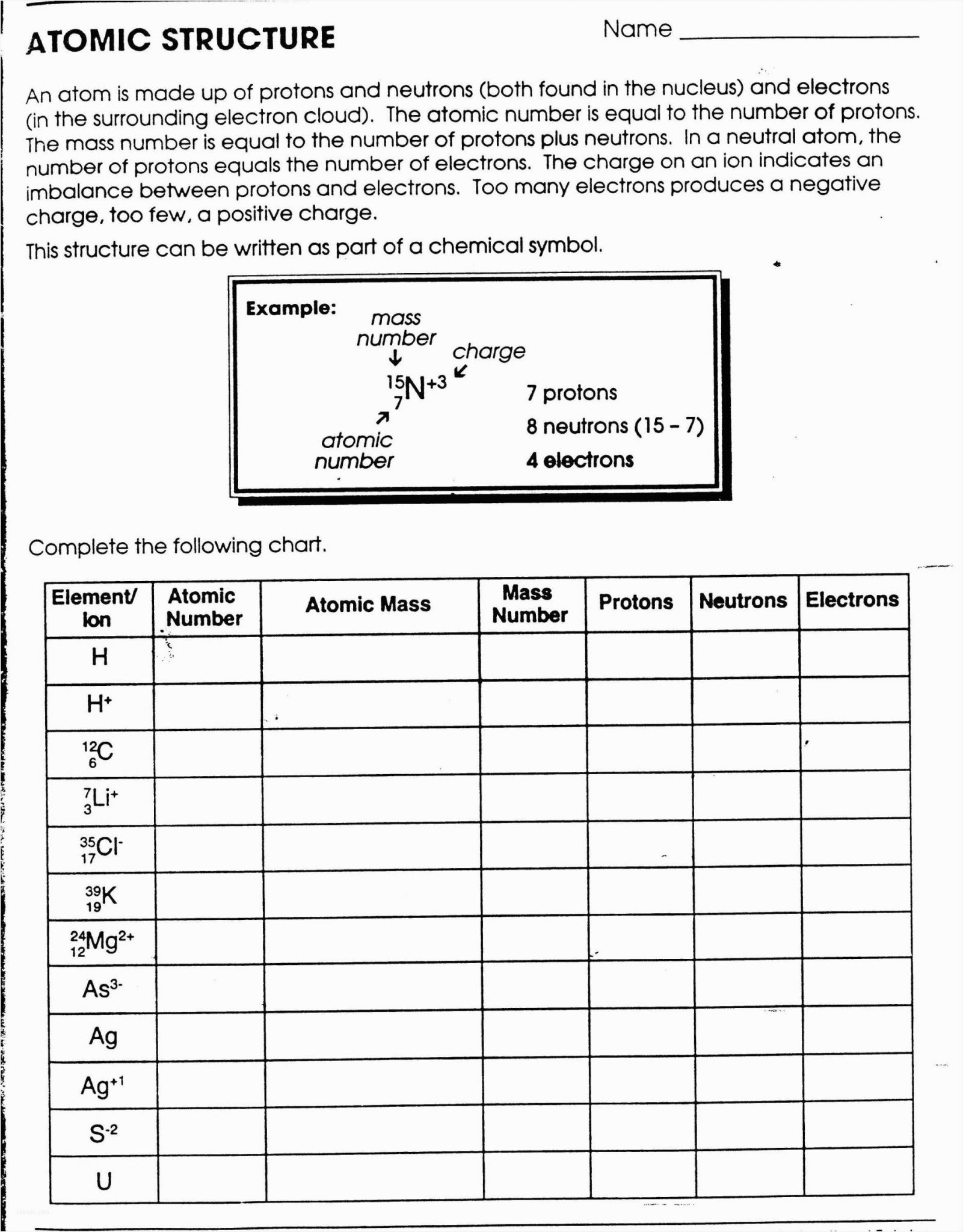Atomic Structure And Theory Worksheet Answers