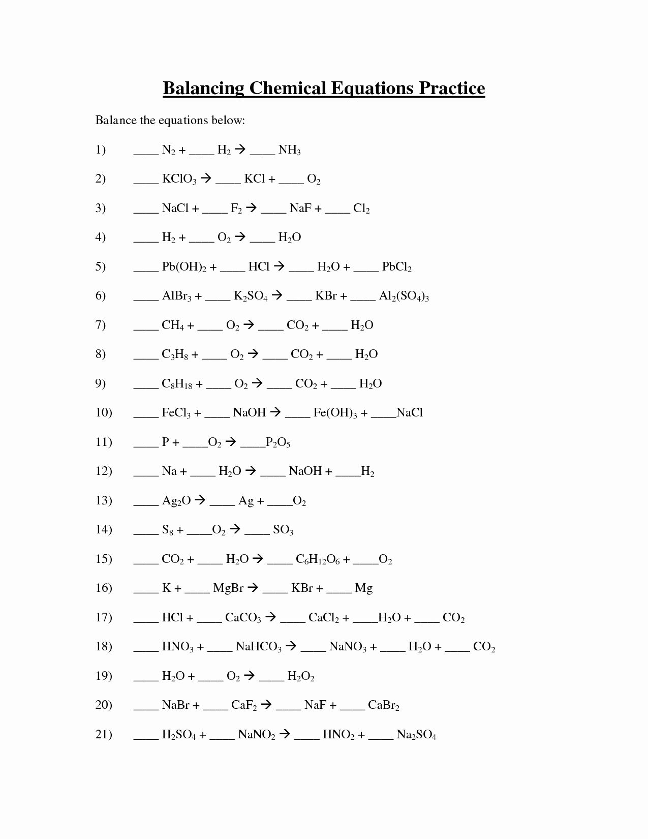 Balancing Chemical Equations Worksheet Answers 1 25