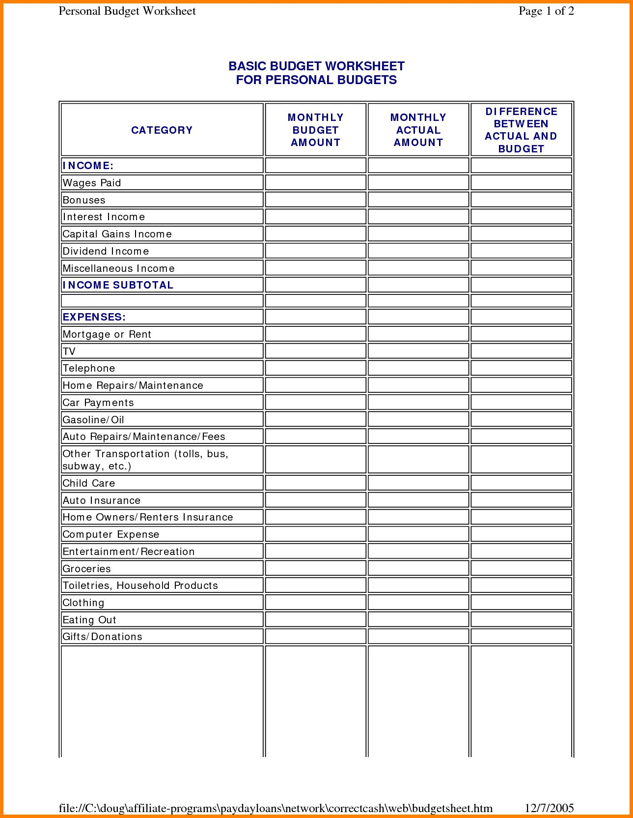 Basic Budget Worksheet College Student