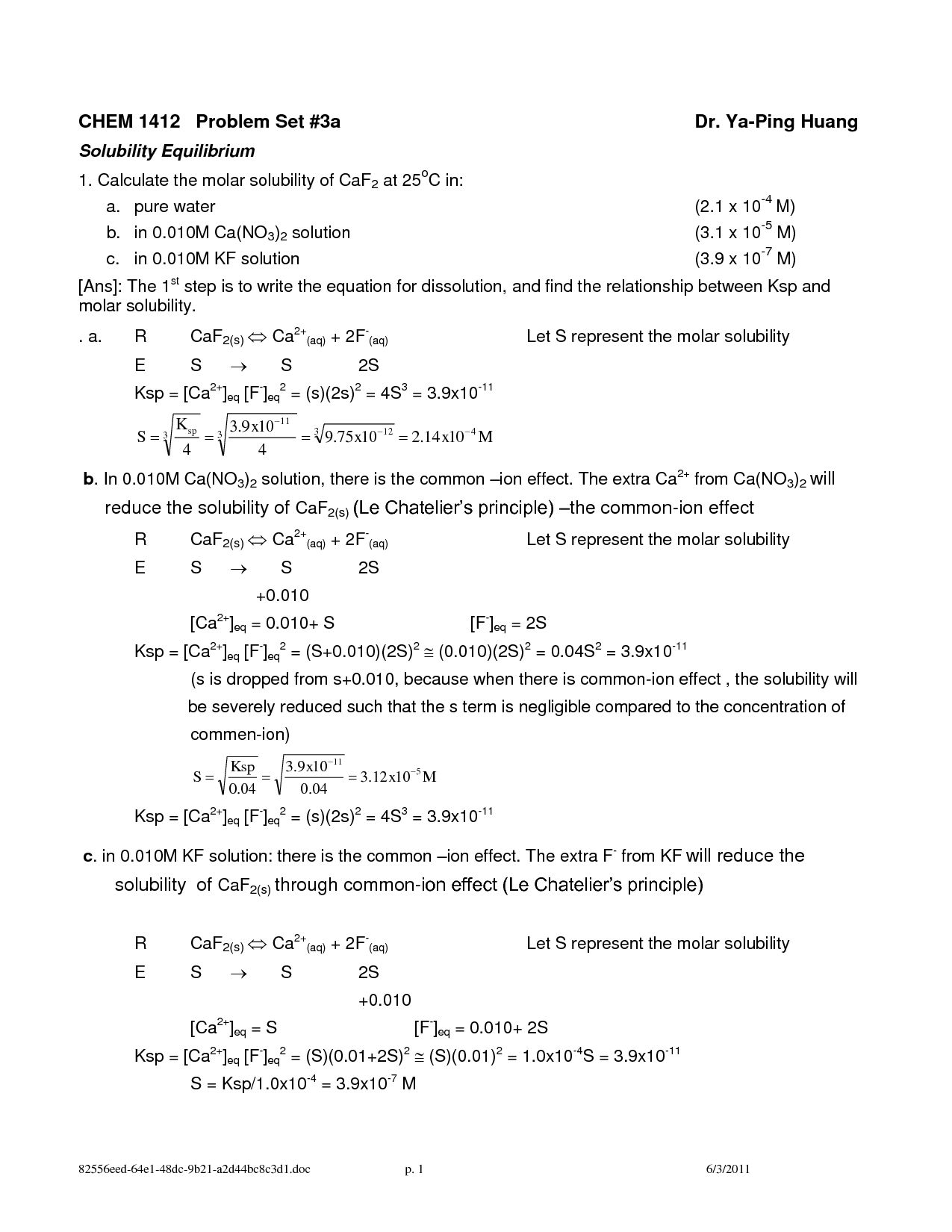 Calculating Specific Heat Worksheet