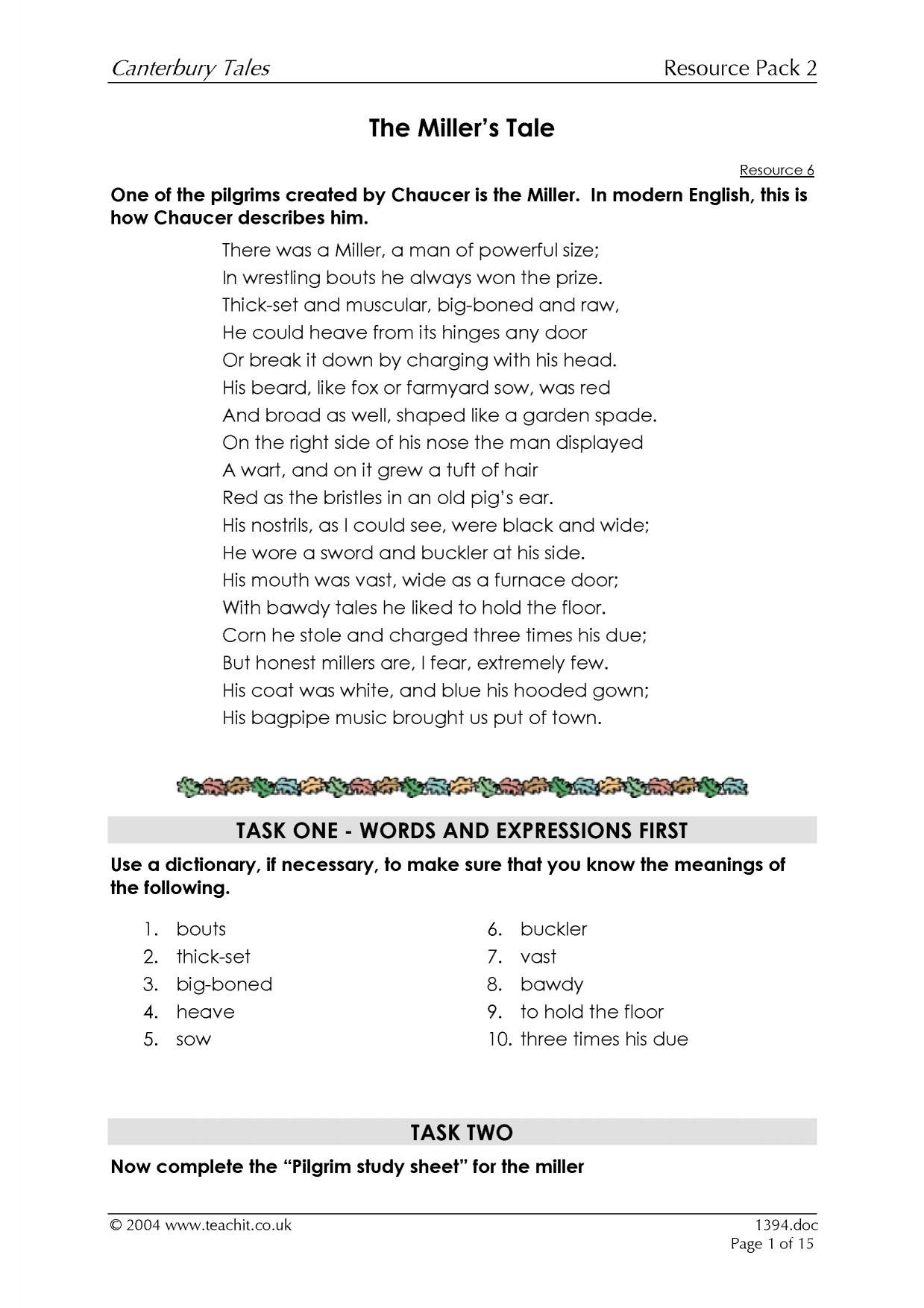 Canterbury Tales Prologue Worksheet Answers
