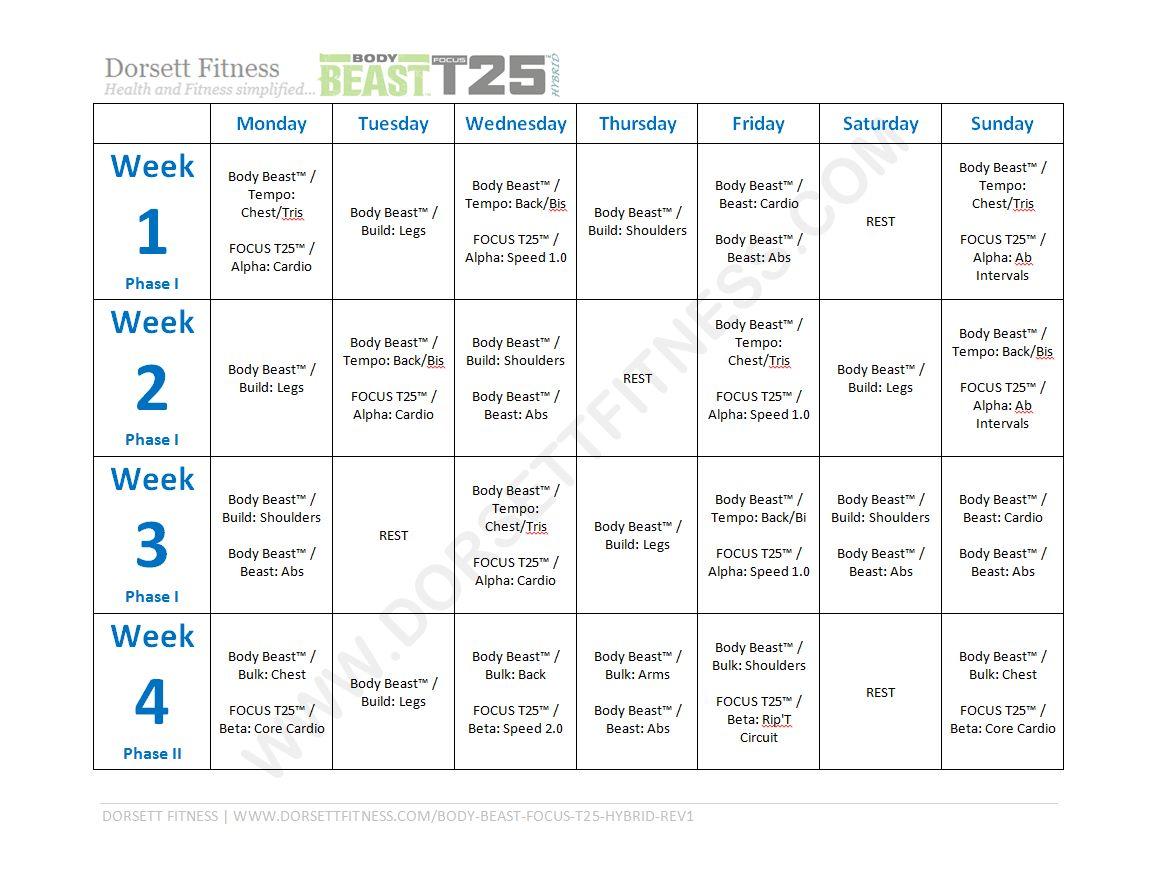Chalean Extreme Calendar And Worksheet