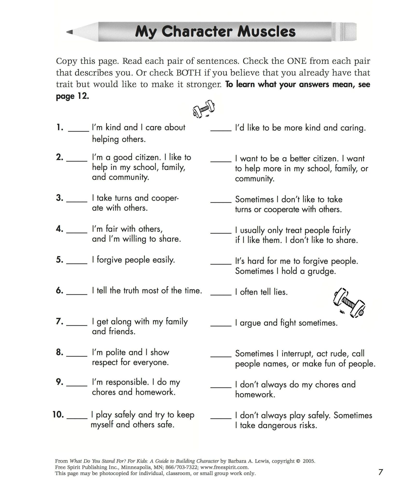 Character Development Worksheet