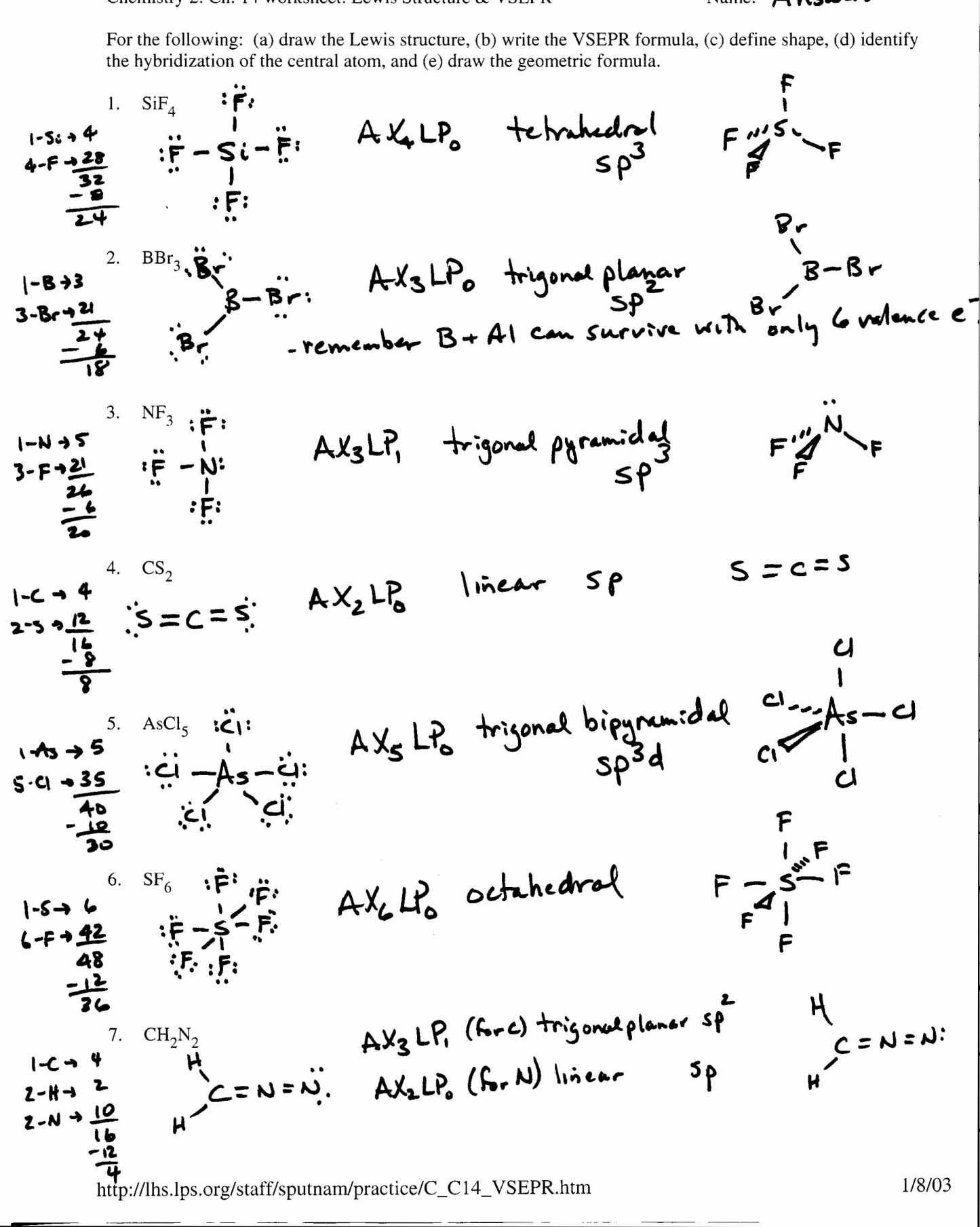 Chemistry Lewis Structure Practice Worksheet
