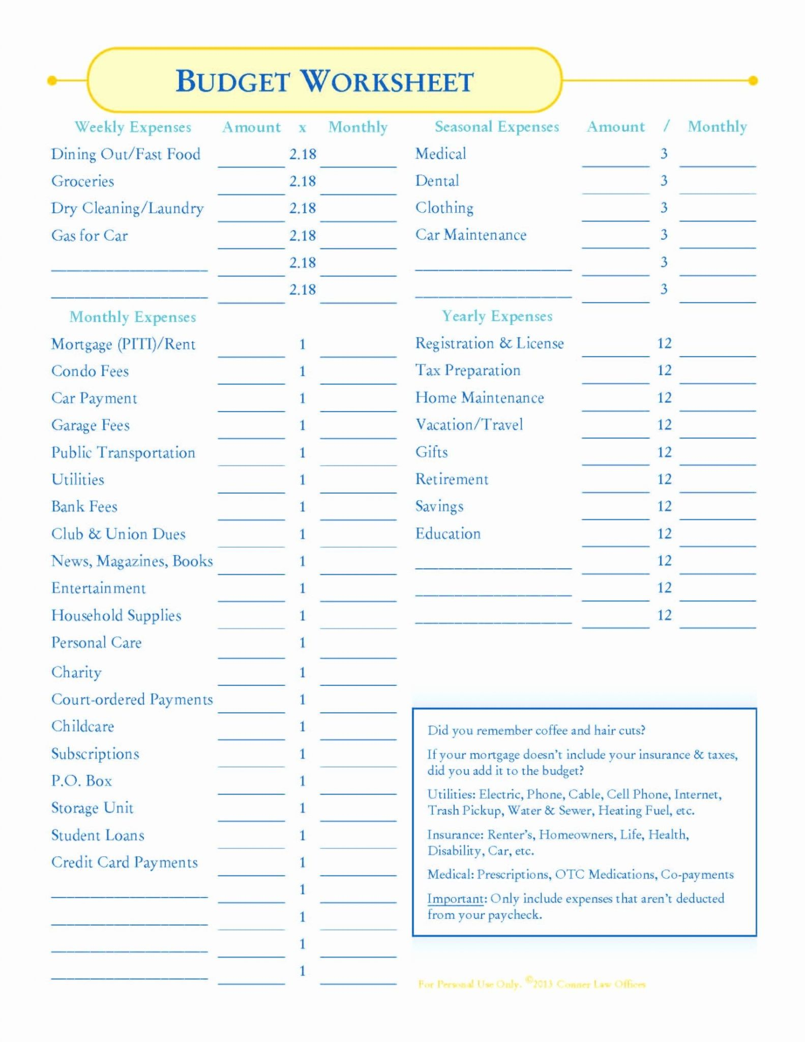 Closing Cost Worksheet