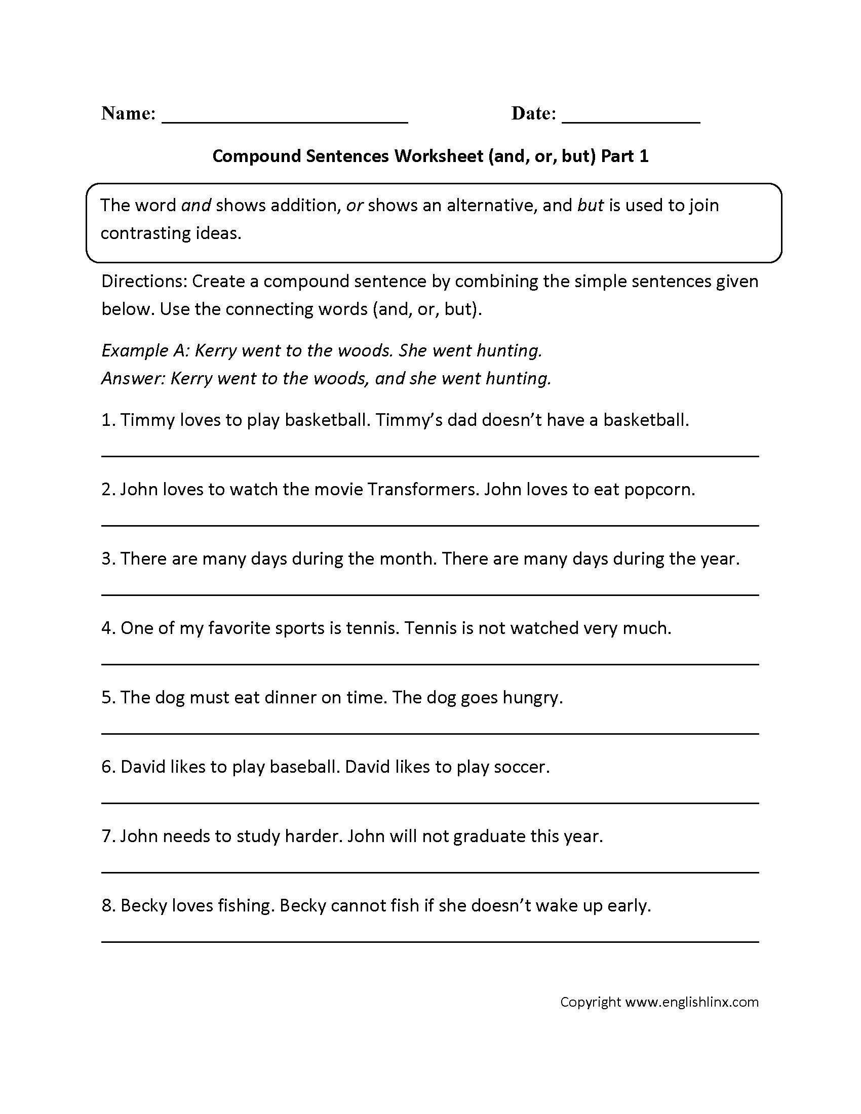 Combining Sentences 4th Grade Worksheets
