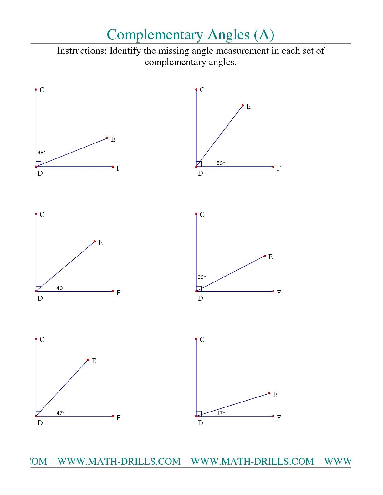 Supplementaty Complementary Angles Worksheet