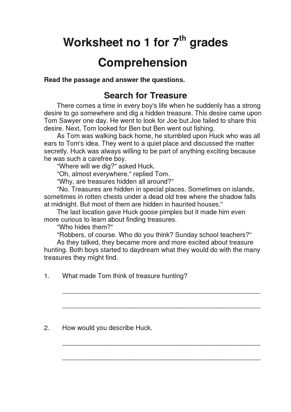 Comprehension Worksheets For Grade 1