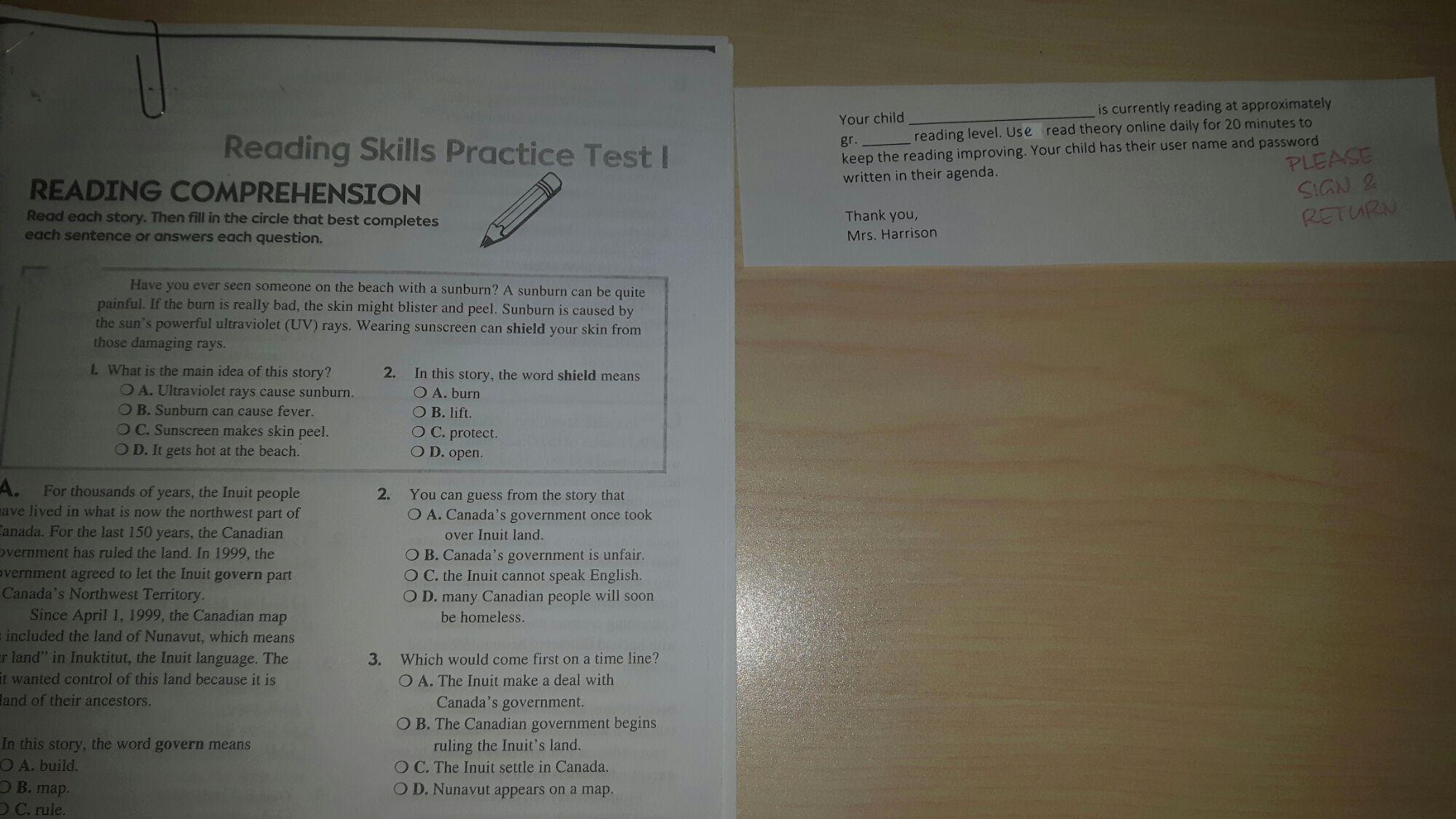 Comprehension Worksheets For Grade 2