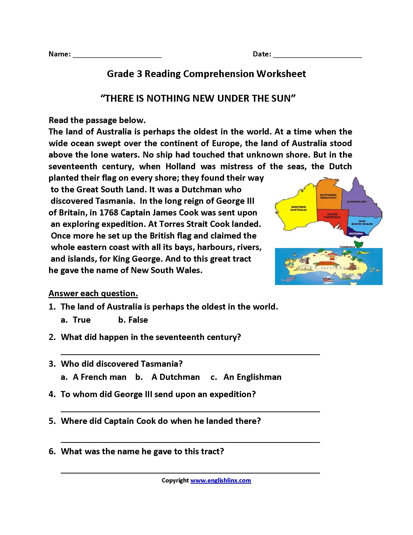 Printable Reading Prehension Worksheet