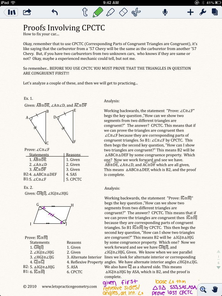 Cpctc Proofs Worksheet With Answers