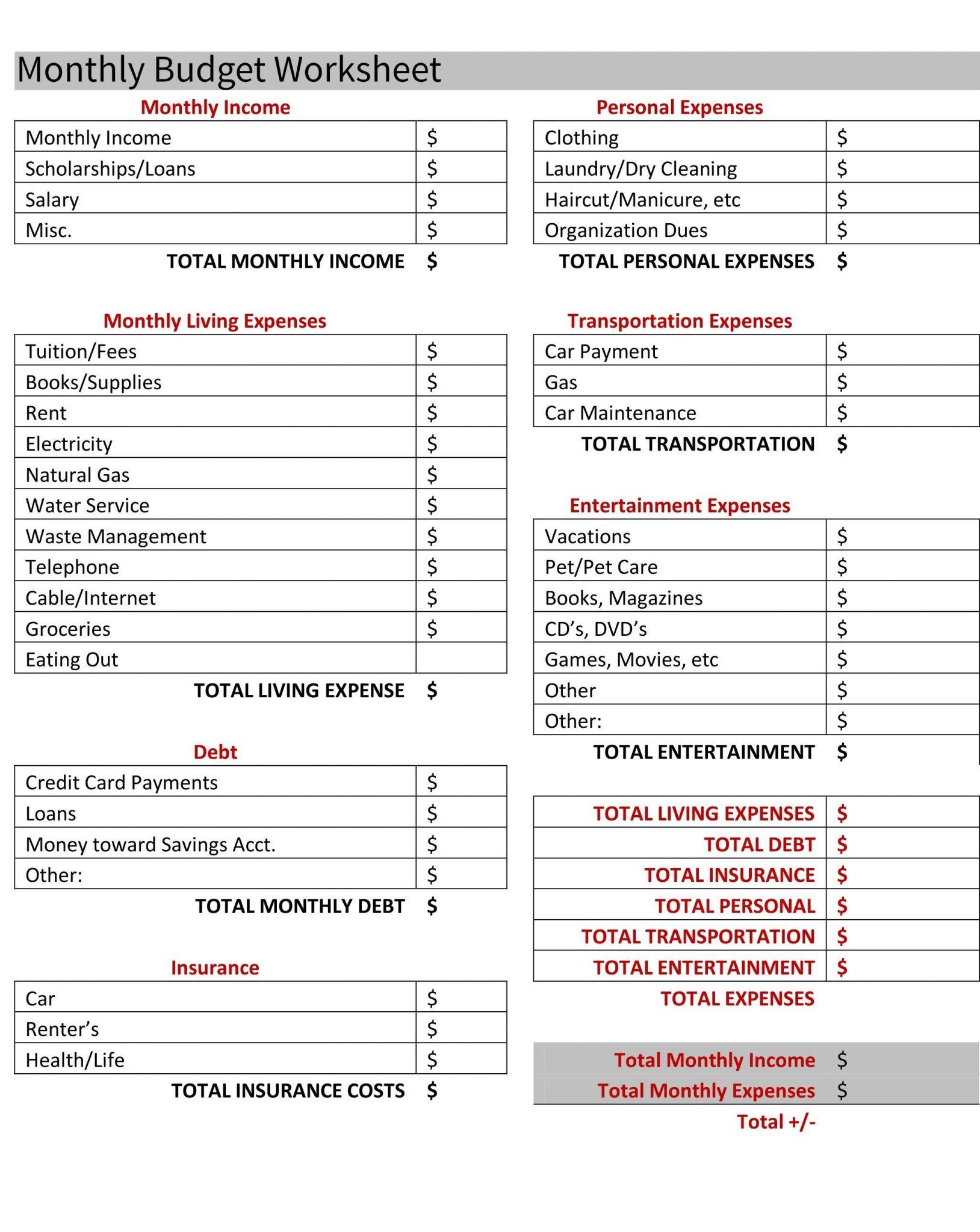 Debt Worksheet Printable