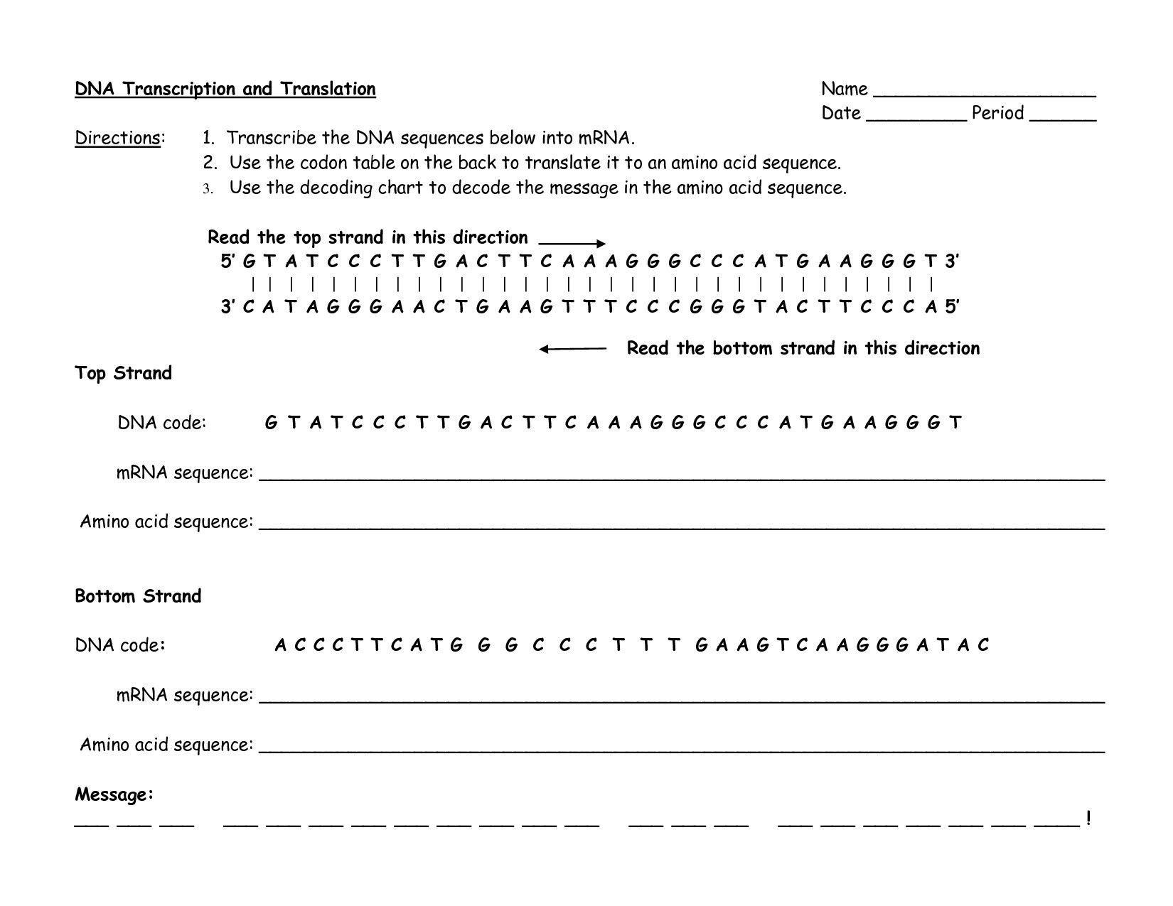 Dna Rna And Protein Synthesis Worksheet Answer Key