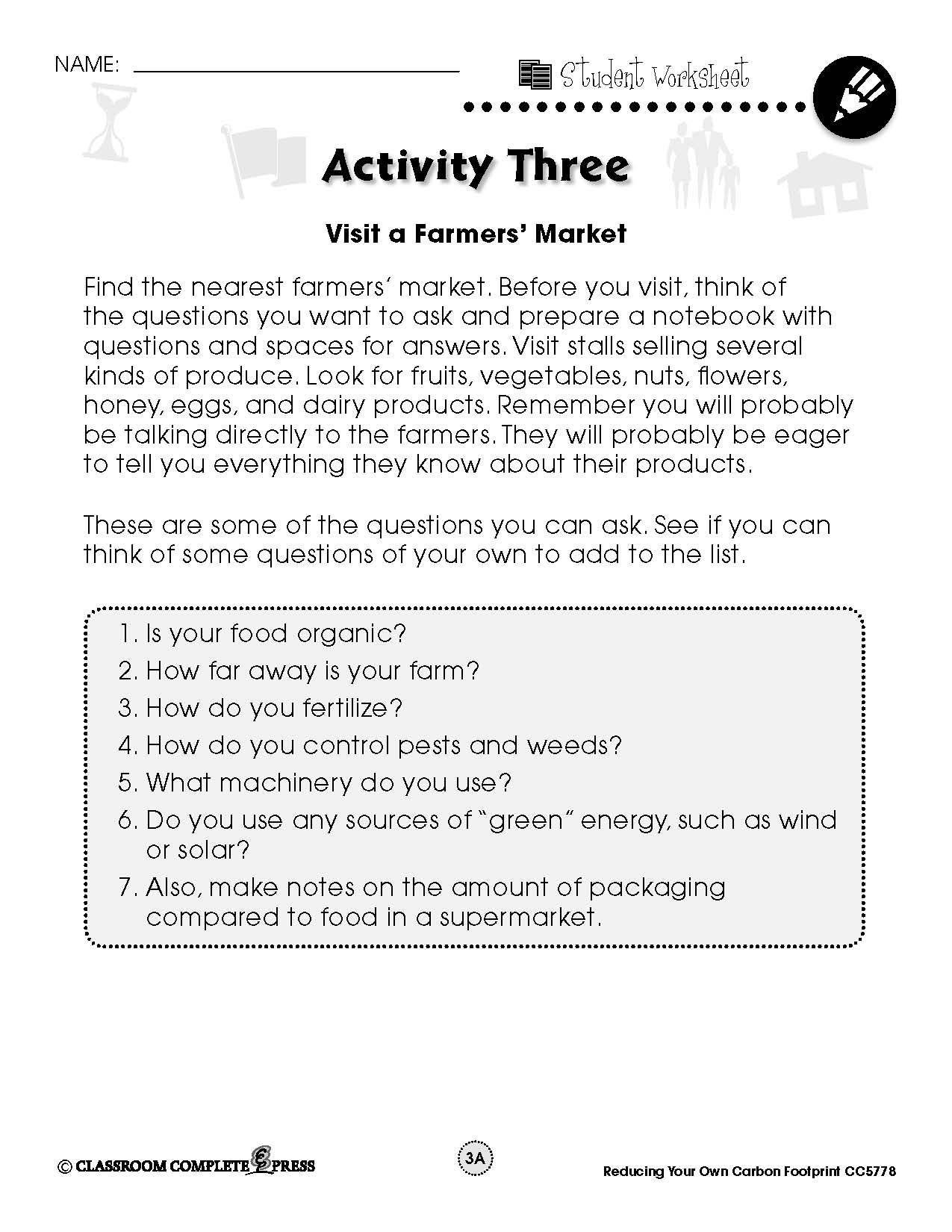 Personal Ecological Footprint Worksheet