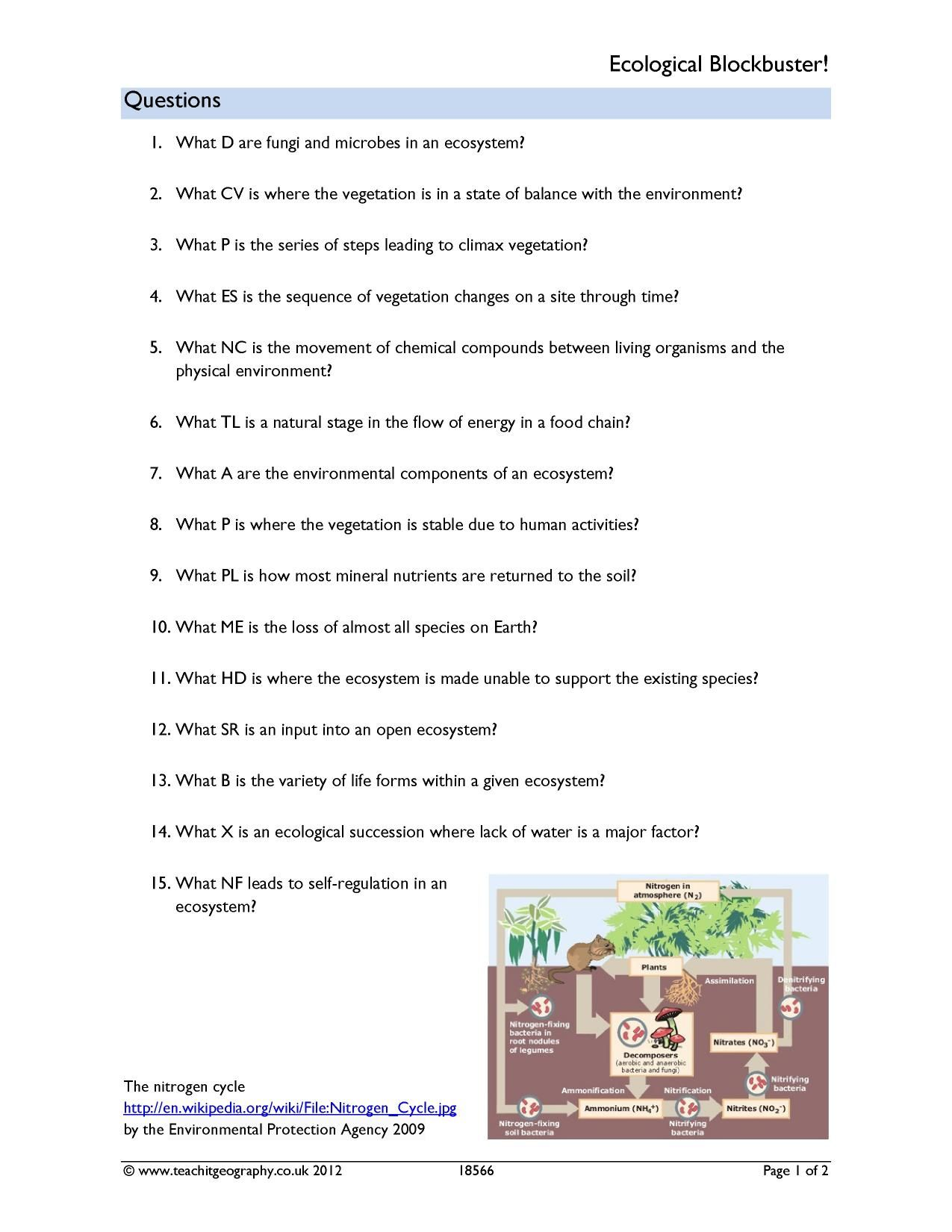 Ecological Succession Worksheet Answer Key