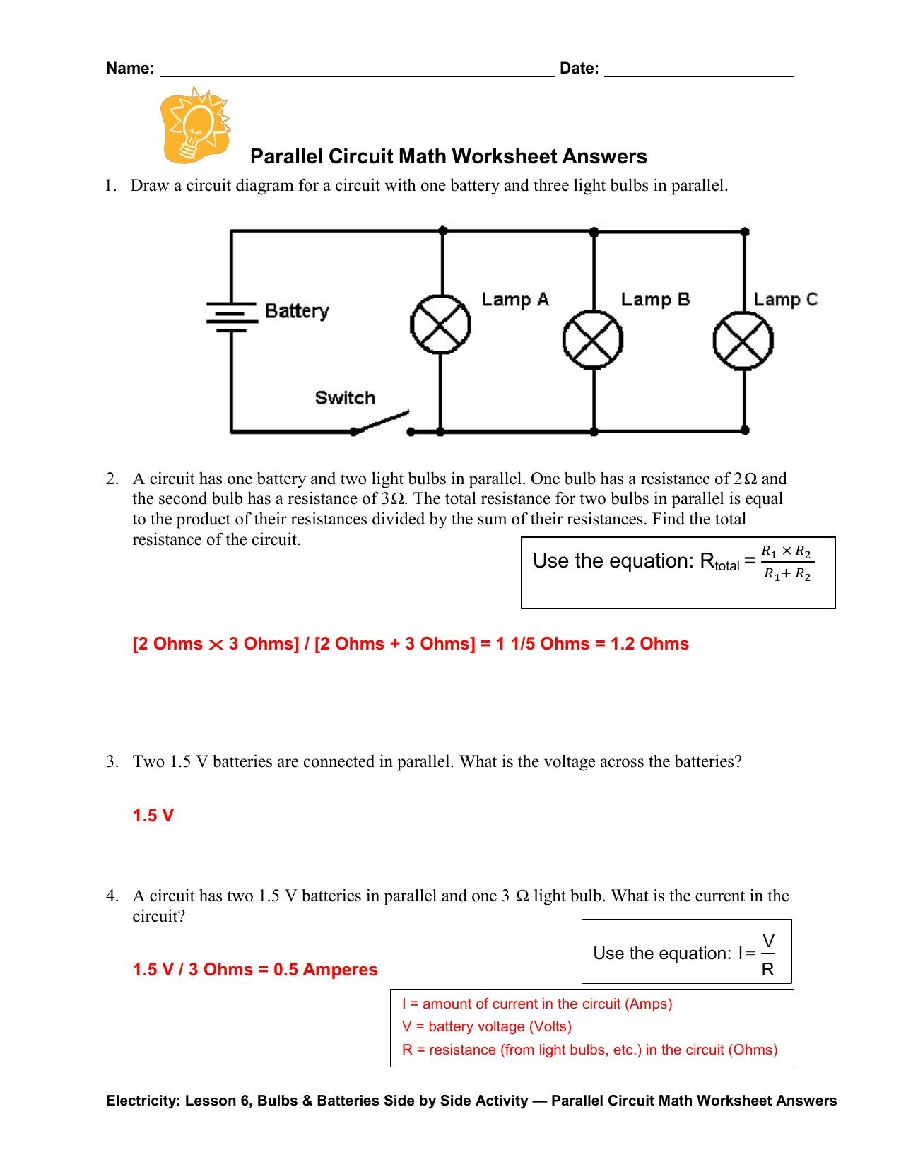 Electric Circuits Worksheet Answer Key