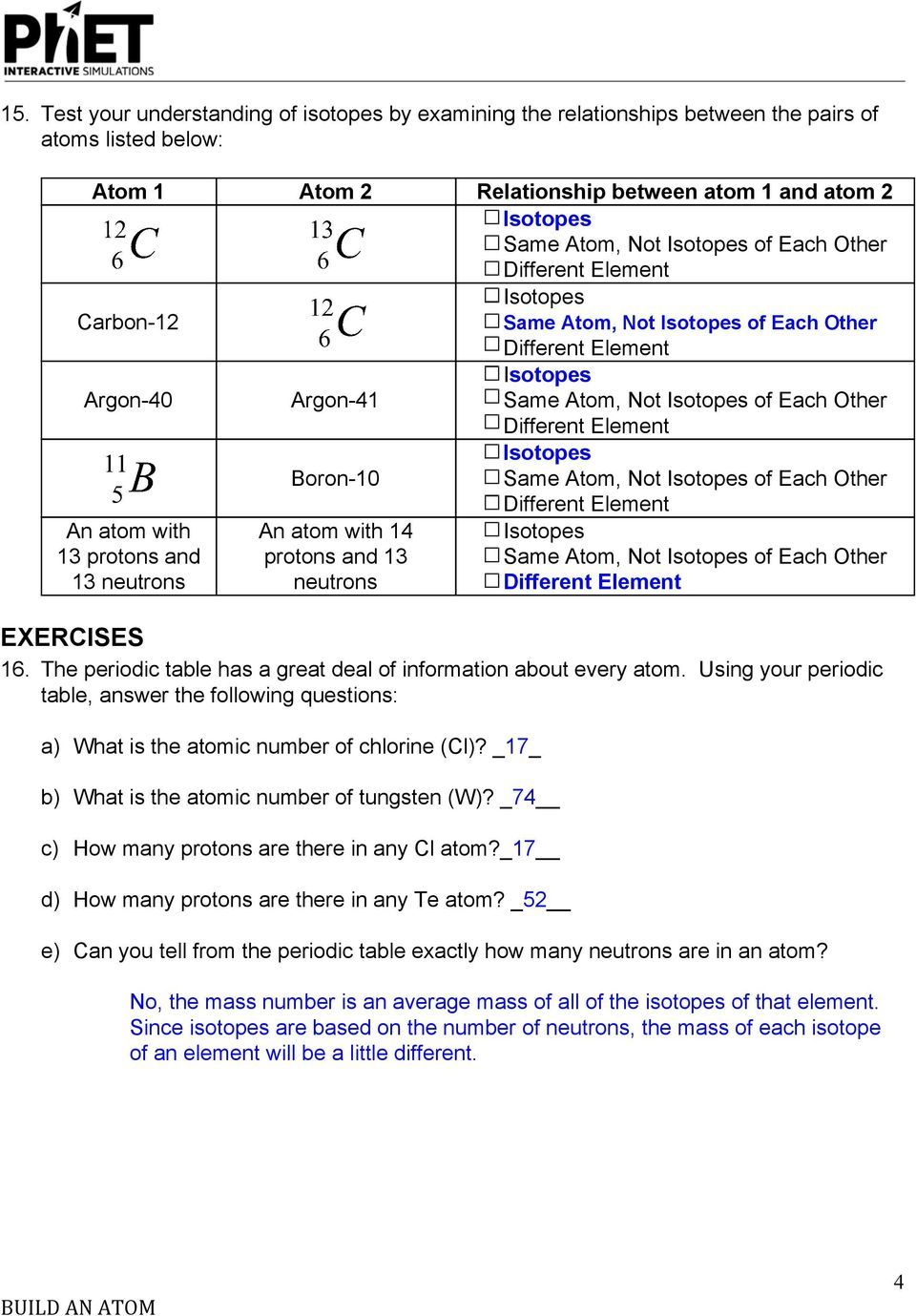 Electrons In Atoms Worksheet Answers