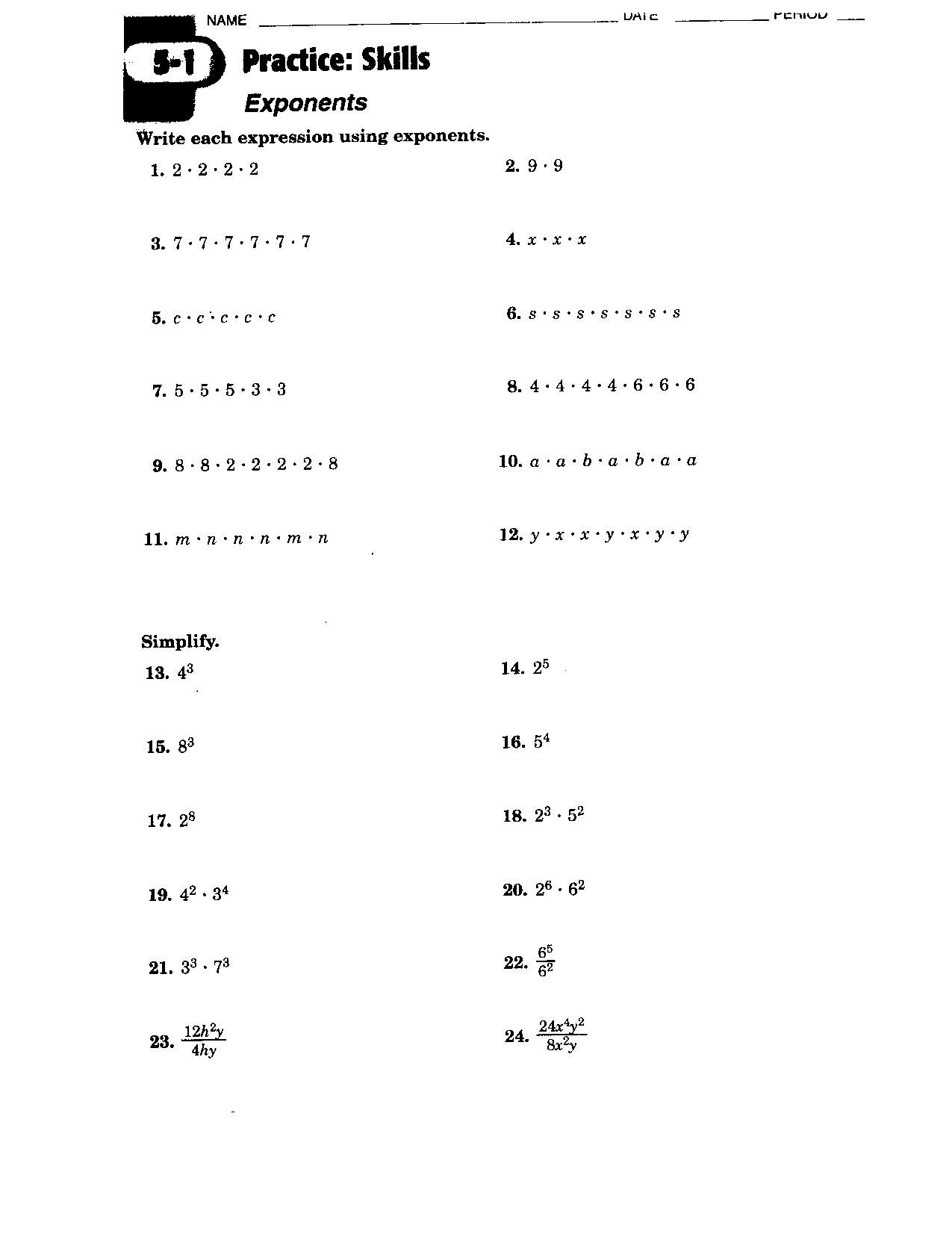 Exponents Worksheets Grade 8