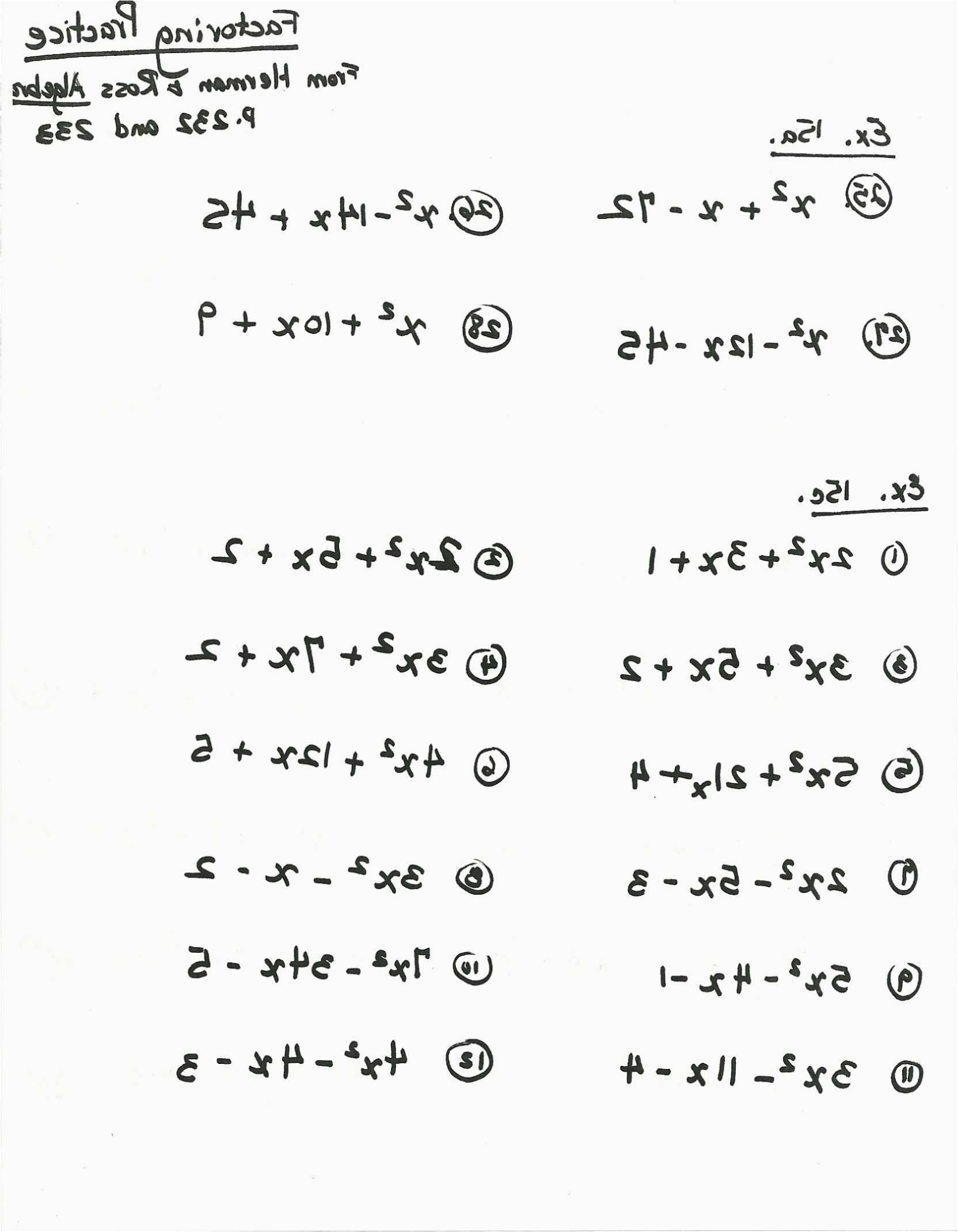 Factoring Expressions Worksheet