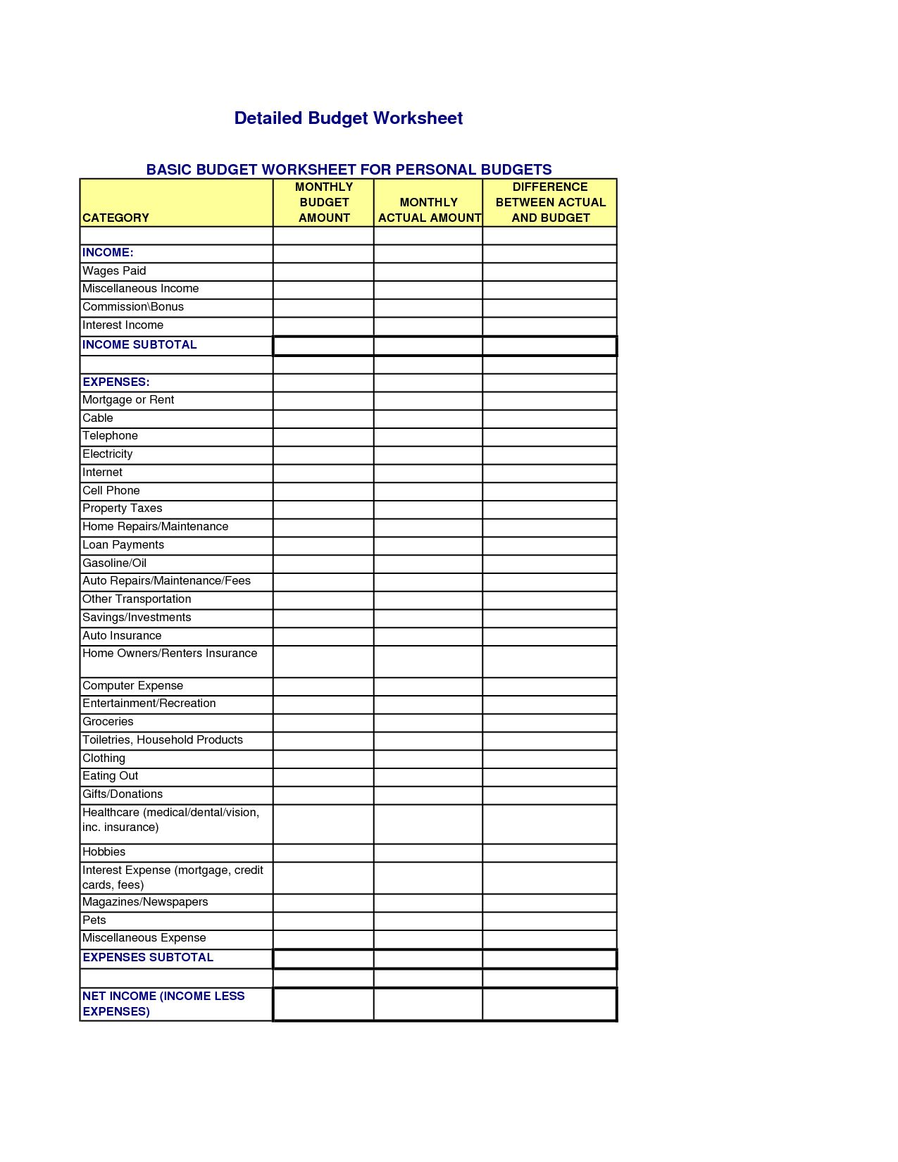 Financial Worksheet For Loan Modification Template