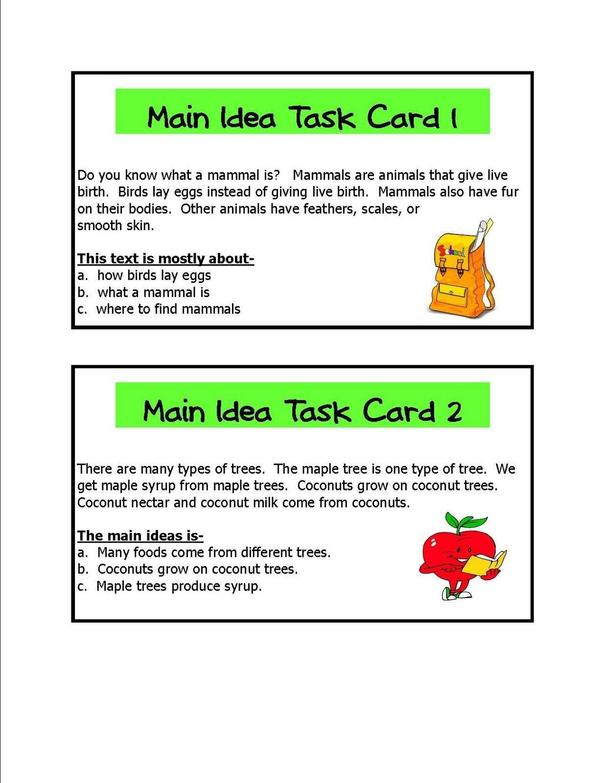 Finding The Main Idea Worksheets With Answers