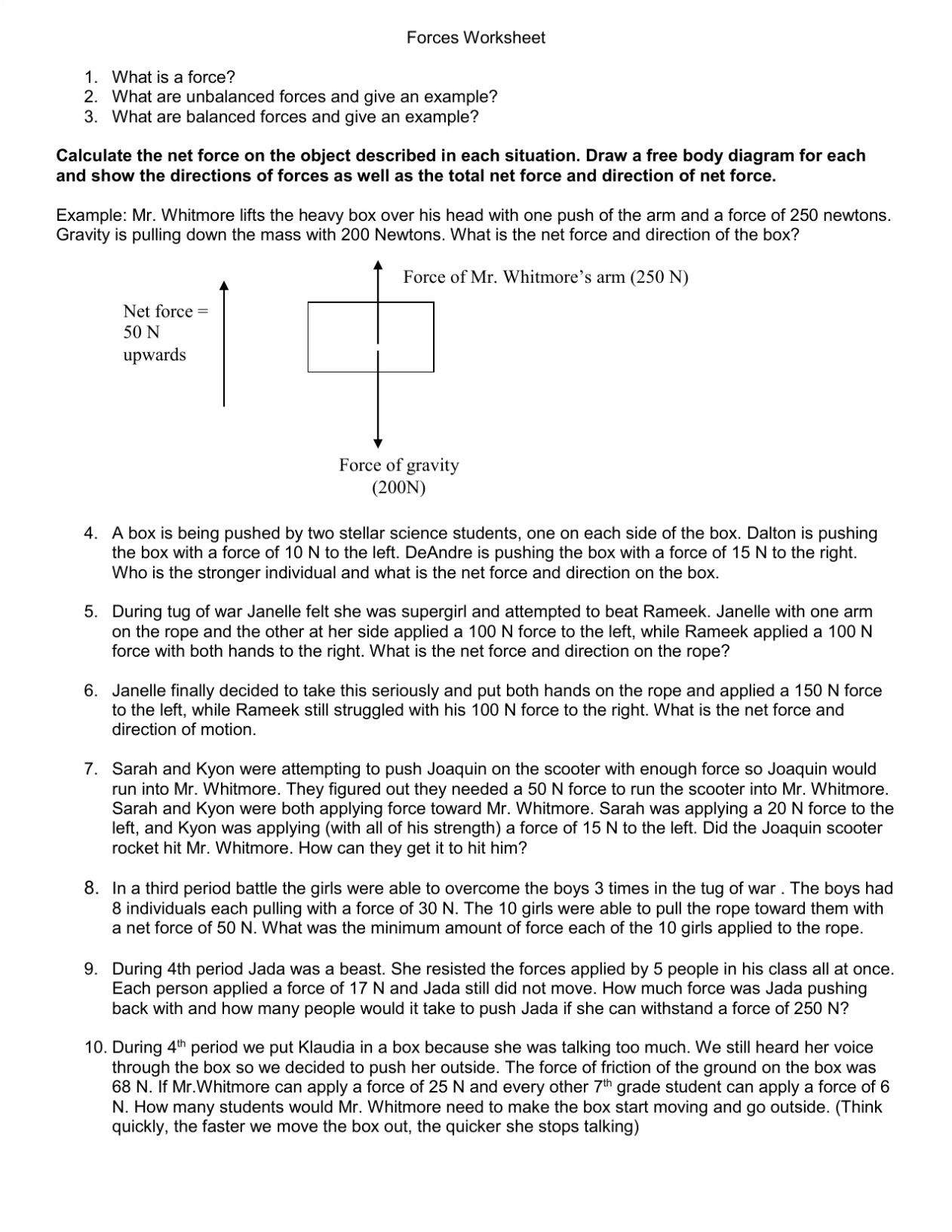 Force And Motion Worksheets 3rd Grade