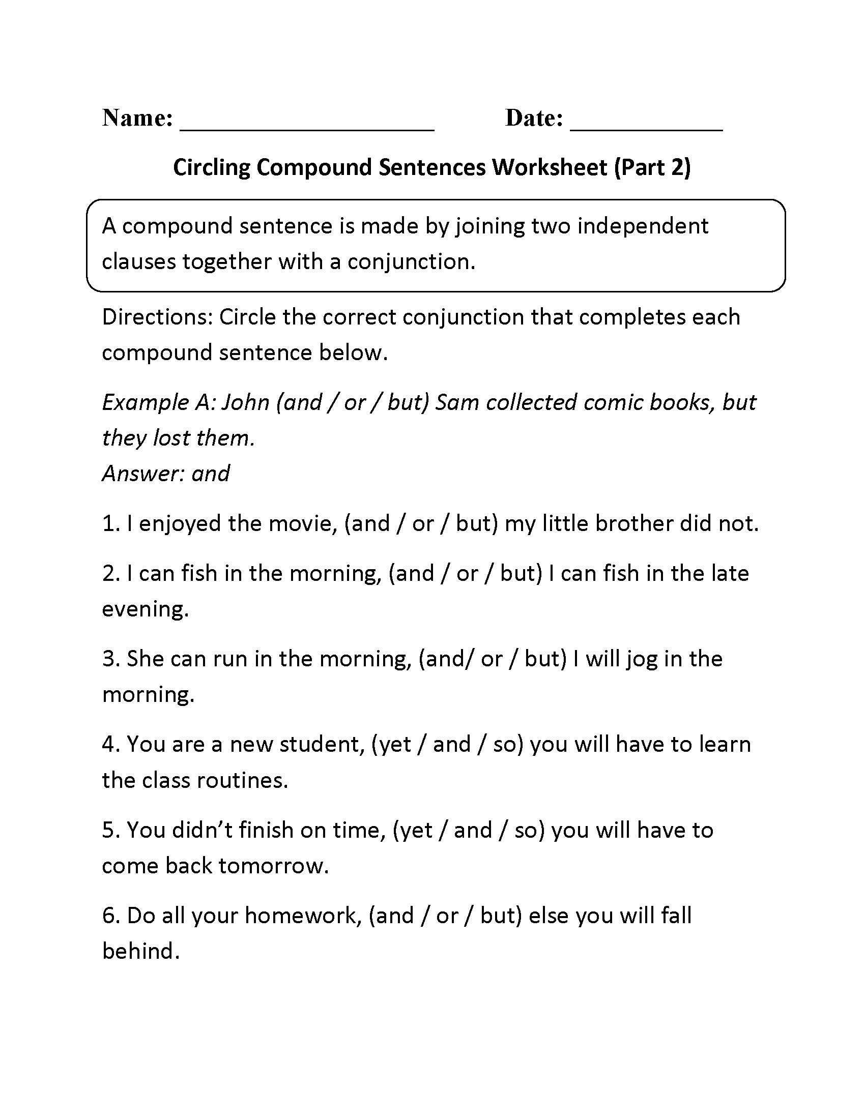 Fragments And Run On Sentences Worksheet